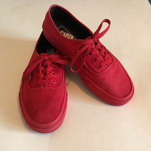 Red Vans 6 Men's 7.5 Woman's.
